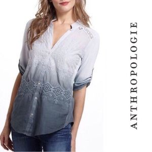 Anthropologie Tiny dip dyed eyelet ombré shirt